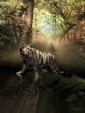 Tigre dentro del bosque en la salida del sol ilustración del vector