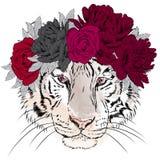 Tigre di vettore in una corona dei fiori hipster illustrazione vettoriale