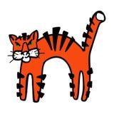 Tigre divertido de dibujo del vector del rugido de los niños stock de ilustración