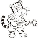 Tigre dos desenhos animados que joga uma guitarra Foto de Stock Royalty Free