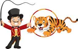 Tigre dos desenhos animados que salta através do anel Fotografia de Stock
