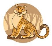 Tigre em um fundo marrom. ilustração royalty free