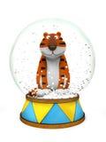 Tigre en el globo de la nieve Foto de archivo