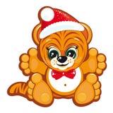 Tigre en el sombrero de Santa Fotos de archivo