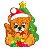 Tigre en el sombrero de Santa Imagenes de archivo