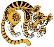 Tigre en estilo del oro Fotos de archivo libres de regalías