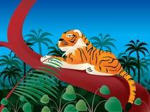 Tigre en selva stock de ilustración