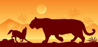 Tigre et chacal de livre de Kipling Photographie stock