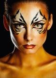 Tigre femmina della ragazza Immagini Stock Libere da Diritti