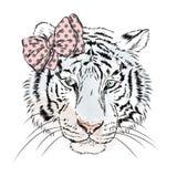 Tigre femmina di vettore con un arco Ragazza hipster royalty illustrazione gratis