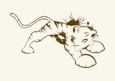 Tigre illustrata del grunge Immagini Stock Libere da Diritti