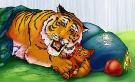 Tigre jouant avec le tigre de jouet Image libre de droits