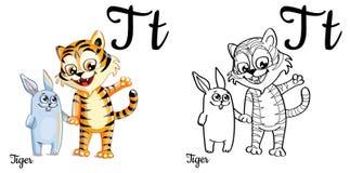 Tigre Lettera T, pagina di coloritura di alfabeto di vettore Illustrazione Vettoriale