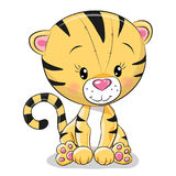 Tigre lindo de la historieta ilustración del vector