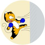 Tigre mignon de bande dessinée de vecteur le jeune des arts martiaux bat un mur illustration stock