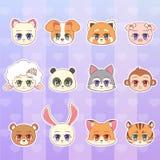 Tigre, mono, oso, panda, rojo, oveja, perro, perrito, gato, gatito, cordero, cerdo, lobo, zorro, sistema de la etiqueta engomada  Imagen de archivo libre de regalías