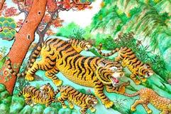 Tigre murala Fotografia Stock Libera da Diritti