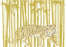 Tigre na floresta de bambu ilustração stock