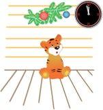 Tigre nell'aspettativa di nuovo anno Immagine Stock