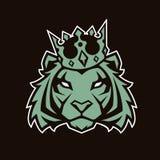 Tigre nella mascotte di vettore della corona illustrazione di stock