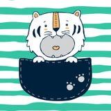 Tigre no bolso ilustração royalty free