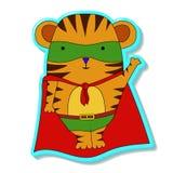 Tigre no traje dos super-herói Ilustração do vetor ilustração stock