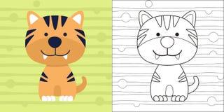 Tigre pequeno bonito da página da coloração para o personagem de banda desenhada da educação Foto de Stock Royalty Free