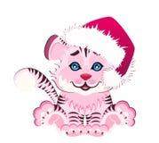 Tigre pequeno bonito em um tampão vermelho Fotografia de Stock Royalty Free