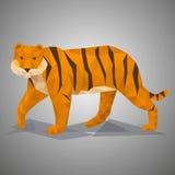 Tigre polivinílico bajo Ejemplo del vector en estilo poligonal Foto de archivo libre de regalías