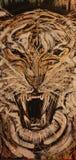 Tigre, rugido feroz, pintura abstrata dos dentes enormes imagens de stock