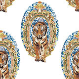 Tigre selvagem no quadro do vintage Imagens de Stock