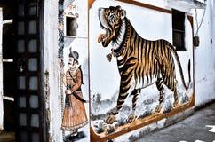 Tigre sur le mur Image libre de droits