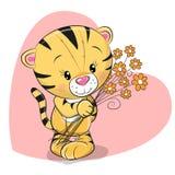 Tigre sveglia della cartolina d'auguri con i fiori illustrazione vettoriale