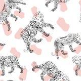 Tigre tirado mão e fundo manchado leopardo ilustração do vetor