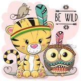 Tigre tribale e gufo del fumetto sveglio royalty illustrazione gratis
