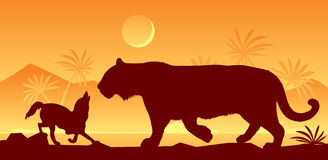 Tigre y chacal del libro de Kipling Fotografía de archivo