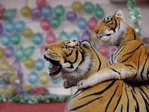 Tigres de Cudly em uma tenda do recinto de diversão fotografia de stock