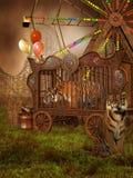 Tigres em uma gaiola ilustração do vetor