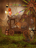 Tigres en una jaula ilustración del vector