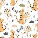Tigres lindos madre y modelo inconsútil del bebé libre illustration