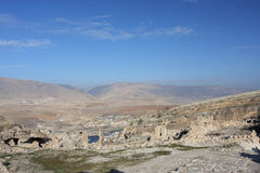 Tigris river valley and old ruined town in Turkey Stock Image