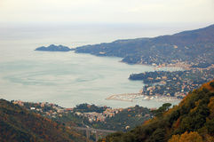 Tigullio Gulf. View of the Tigullio Gulf with Portofino and Rapallo Royalty Free Stock Photos