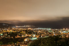 Tigullio - Gulf by night. Night view of the city of Chiavari, Lavagna and Sestri Levante after the rain Stock Photo