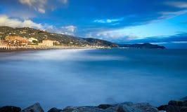 Tigullio gulf - Sestri Levante on the background. Lavagna - Ligurian sea - Italy stock photo