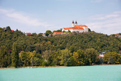 The Tihany Abbey viewed from Lake Balaton in Hungary Royalty Free Stock Photo
