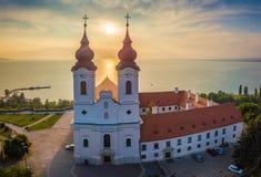 Tihany, Hungary - Aerial panoramic view of Benedictine Monastery of Tihany Tihany Abbey at sunrise