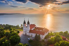 Free Tihany, Hungary - Aerial Skyline View Of The Famous Benedictine Monastery Of Tihany Tihany Abbey With Beautiful Colourful Sky Stock Photo - 154757180
