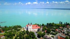 Tihany, Hungary - 4K flying around semi circle of Benedictine Monastery of Tihany Tihany Abbey