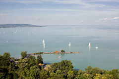 Tihany and lake Balaton. Stock Photos