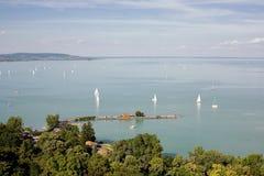 Tihany and lake Balaton. Stock Photos